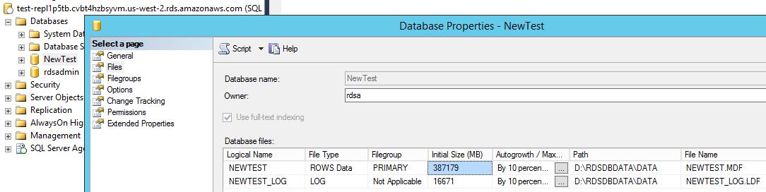 VA to OR Database size: ~400 GB