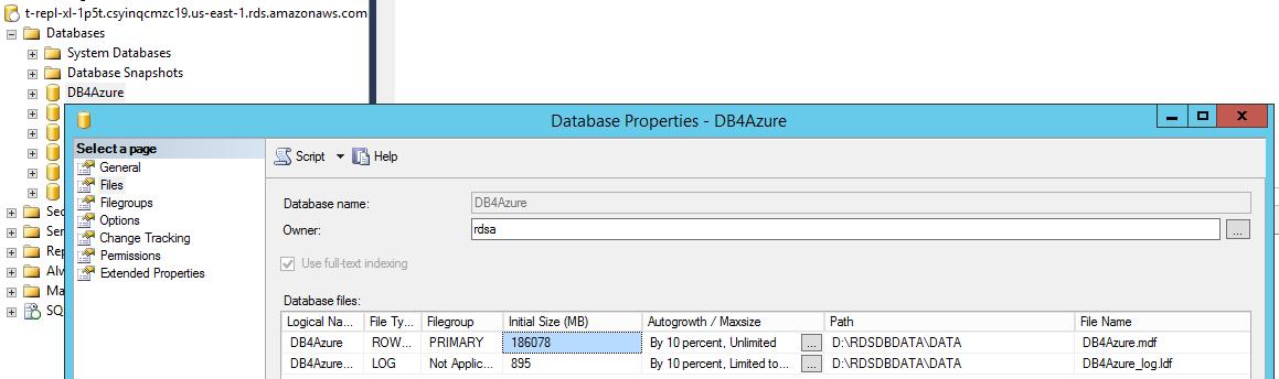 AWS-to-Azure Replication Benchmark DB-Size